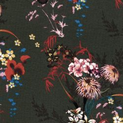 Tissu jersey viscose bouquets fond kaki