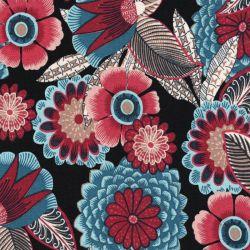 Tissu jersey viscose grosses fleurs fond noir
