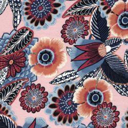 Tissu jersey viscose grosses fleurs fond rose