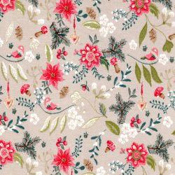 Tissu jersey coton forêt d'automne fond beige