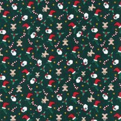 Tissu coton Père Noël et friandises