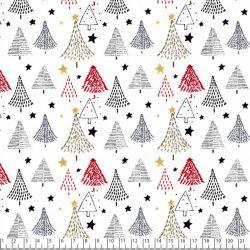Tissu coton Noël Sapins fond blanc