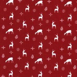 Tissu coton Noël Rennes Rouge