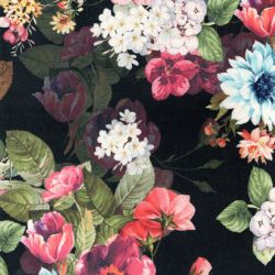 Tissu toucher suédine bouquets fond noir