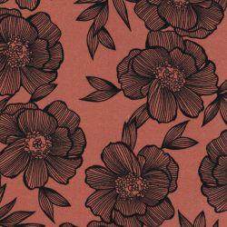 Tissu viscose twill fleurs fond caramel