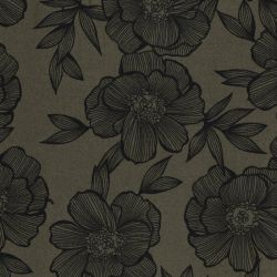 Tissu viscose twill fleurs fond kaki