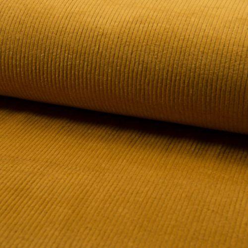 Tissu velours côtelé large moutarde