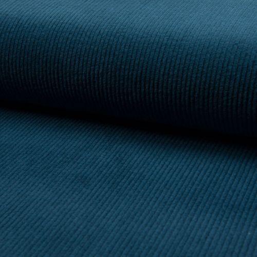 Tissu velours large bleu canard 95%cot/5%el larg 140 cm