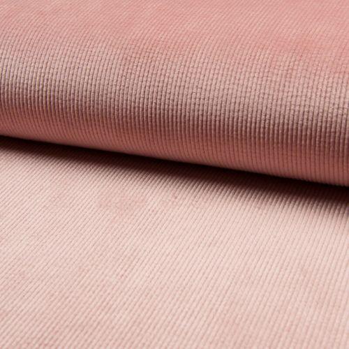 Tissu velours côtelé rose nude