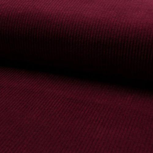 Tissu velours côtelé large bordeaux