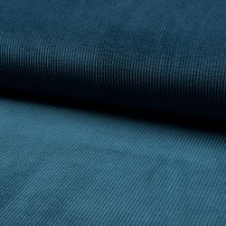 Tissu velours bleu canard 85%pl/12%pa/3%sp larg 145 cm