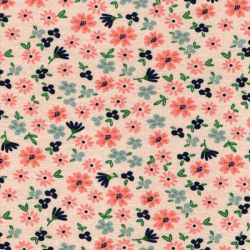 Tissu sweat petites fleurs fond beige Poppy