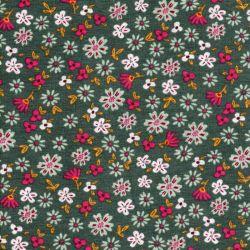 Tissu sweat petites fleurs fond vert Poppy