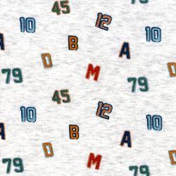 Tissu sweat chiffres et lettres fond écru chiné