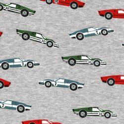 Tissu sweat voitures fond gris chiné