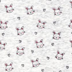 Tissu sweat lapins coeurs fond écru chiné