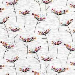 Tissu sweat fleurs de carottes multicolore fond écru chiné