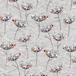 Tissu sweat fleurs de carottes multicolore fond gris chiné