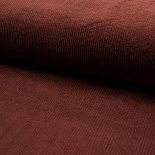 Tissu velours côtelé large terracotta