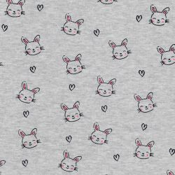 Tissu sweat lapins coeur fond gris chiné