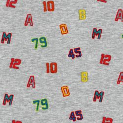Tissu sweat chiffres et lettres fond gris chiné