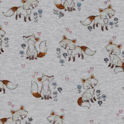 Tissu sweat renards et fleurs bleues fond gris chiné