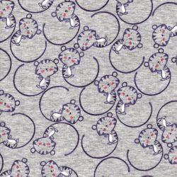 Tissu sweat petits tigres fond gris chiné