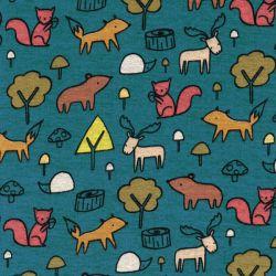 Tissu sweat épais Forest animals fond bleu canard Poppy