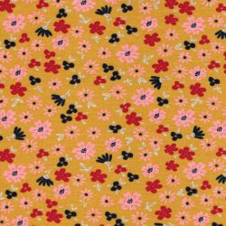 Tissu sweat petites fleurs fond jaune Poppy