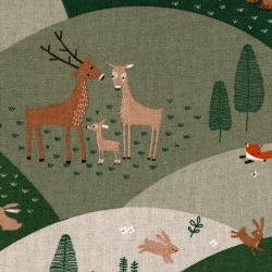 Tissu effet lin collines aux animaux