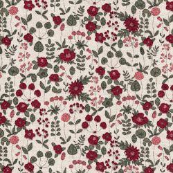 Tissu toile effet lin fleurs bordeaux