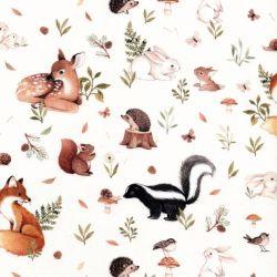 Tissu coton petits animaux de la forêt fond écru
