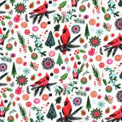 Tissu coton cardinal rouge de noël