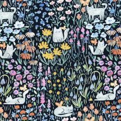 Tissu coton chats dans la prairie fond noir