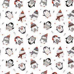 Tissu coton pingouins sur fond blanc