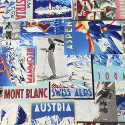 Tissu toile affiches ski vintage