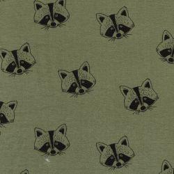 Tissu sweat fin coton BIO Raccoon fond vert Poppy
