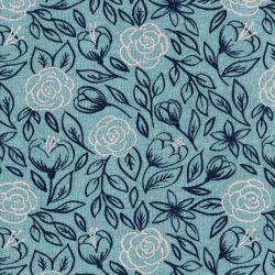 Tissu sweat gratté fleurs glitter fond bleu céladon chiné