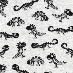 Tissu sweat envers minky dinos squelettes