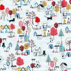 Tissu coton village fond bleu