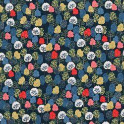 Tissu coton petits arbres fond bleu