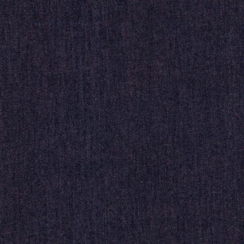 Tissu coton chambray imitation jean bleu/orangé