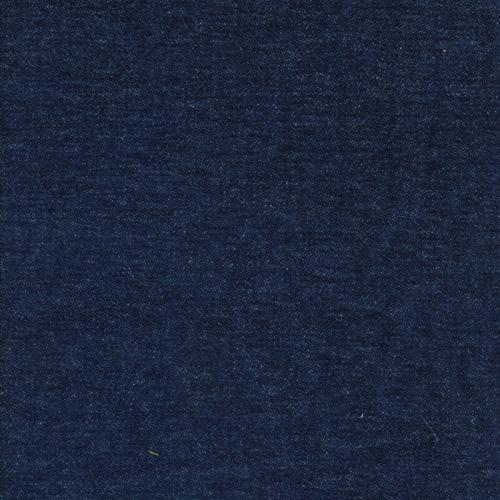 Tissu jean épais touché velours bleu
