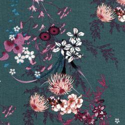 Tissu jersey viscose bouquets fond bleu