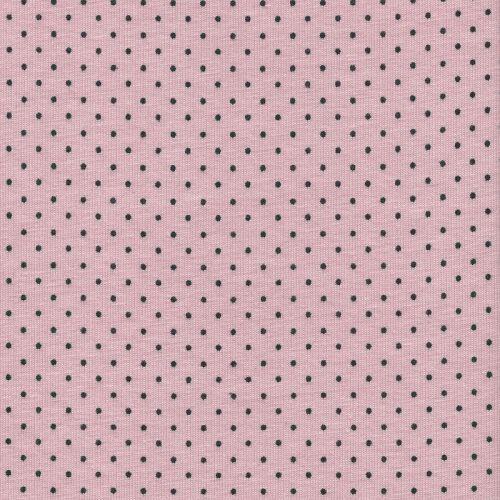 Tissu Jersey pois noirs fond rose 95% coton Bio - 5% Elast.