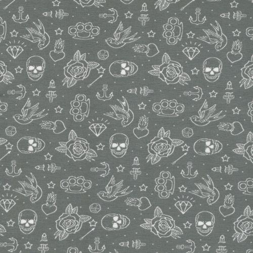 Tissu Jersey 95%cot BIO/5%el tatoo fond gris
