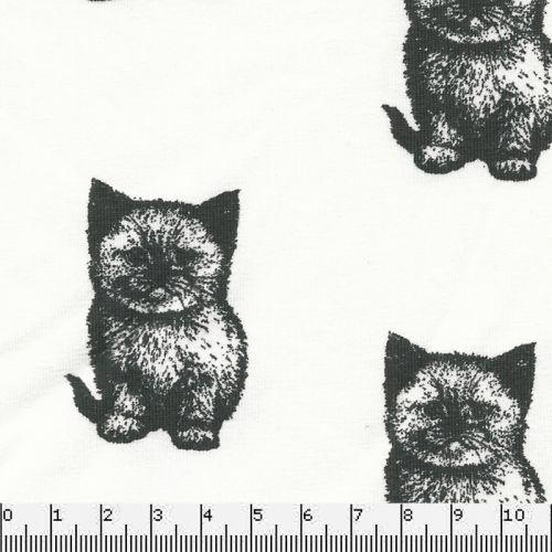Tissu Jersey 95%cot BIO/5%el chat fond blanc