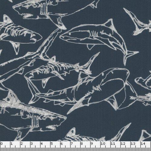 Tissu Jersey requins fd bleu 87%pol/13%pemcm MV