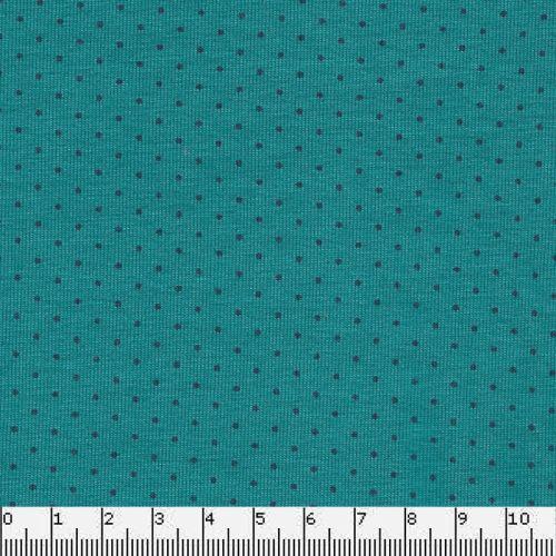 Tissu Jersey pois bleus fond vert 95% coton Bio