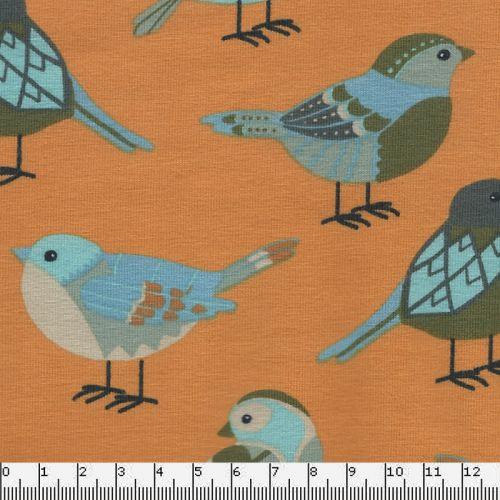 Tissu jersey oiseaux fond jaune 95%cot/5%lycra